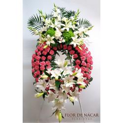 Corona de Flores Blanca y Rosa