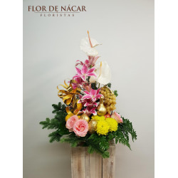 Cesta Navideña con Flor y Fruta Habana